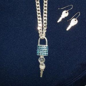 Blue Rhinestone Silver Locket W/ Earrings